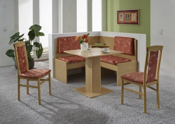 Truhen-Eckbankgruppe, Buche Natur Dekor; Eckbank, 2 Stühle und Säulentisch; Bezug: Mikrofaser terracotta